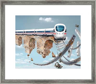 Train On An Aqueduct In Berlin Framed Print by Smetek