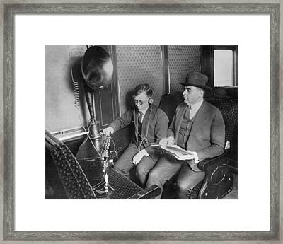 Train Passengers Enjoy Radio Framed Print by Underwood Archives