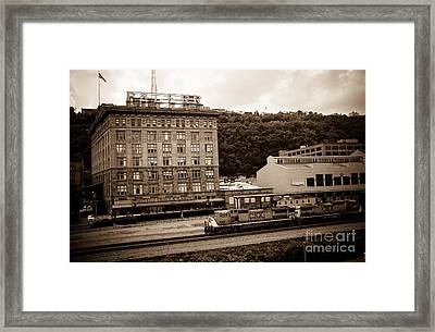 Train Passes Station Square Pittsburgh Antique Look Framed Print