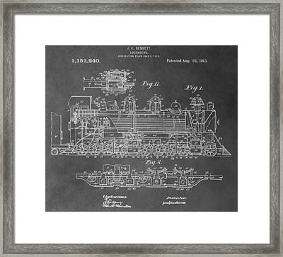 Train Patent Framed Print by Dan Sproul