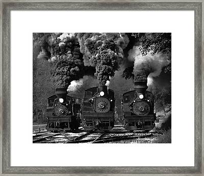 Train Race In Bw Framed Print by Chuck Gordon