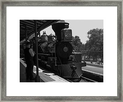 Train Ride Magic Kingdom Black And White Framed Print