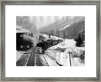 Train Ride Through The Snow Framed Print