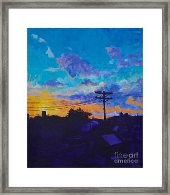 Train Side Sunrise Framed Print