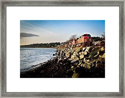 Train Speeding Through Whiterock Framed Print