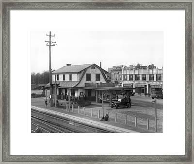 Train Station In Mineola, Ny Framed Print