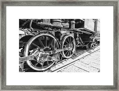 Train - Steam Engine Wheels - Black And White Framed Print by Paul Ward