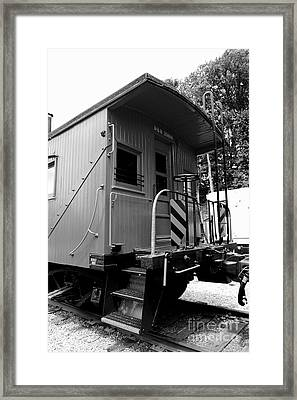 Train - The Caboose - Black And White Framed Print