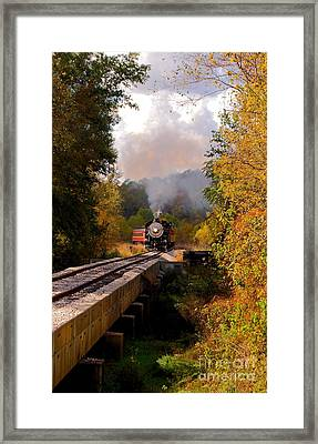 Train Through The Valley Framed Print by Robert Frederick