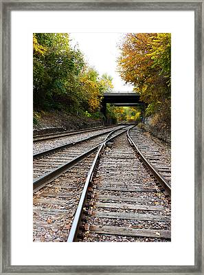 Train Tracks And Bridge In Autumn Framed Print by Ellen Tully