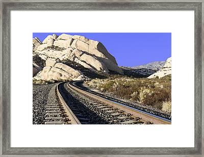 Railroad Tracks At The Mormon Rocks Framed Print