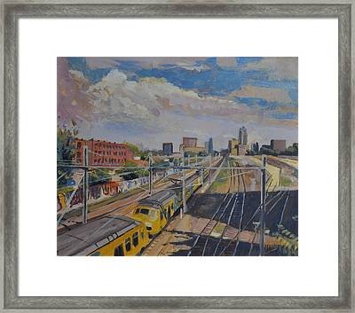 Train Tracks Down Town Tilburg Framed Print by Nop Briex