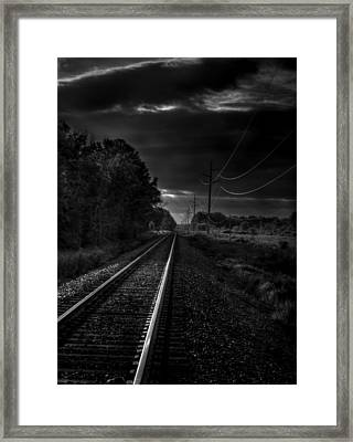 Train Tracks To Town Framed Print by Thomas Young