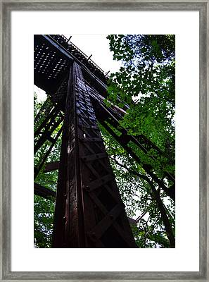 Train Trestle In The Woods Framed Print by Michelle Calkins