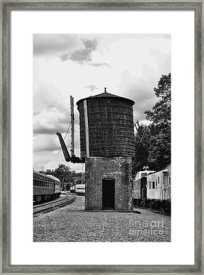Train - Water Tower -  Black And White Framed Print