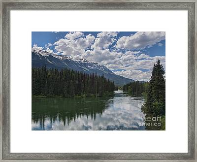 Train Window View Of Lake And Canadian Rockies Framed Print