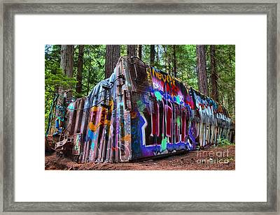 Train Wreck Art In The Forest Framed Print
