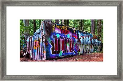 Train Wreck Art In The Woods Framed Print