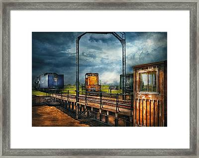Train - Yard - On The Turntable Framed Print by Mike Savad