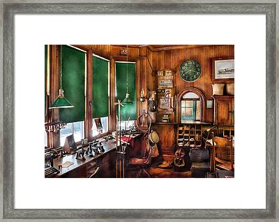 Train - Yard - The Stationmasters Office  Framed Print by Mike Savad