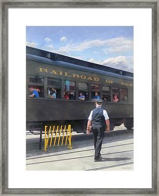 Trains - All Aboard Framed Print by Susan Savad