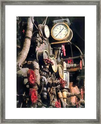 Trains - Inside Cab Of Steam Locomotive Framed Print by Susan Savad
