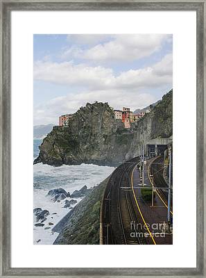 Trainstation In Manarola Italy Framed Print