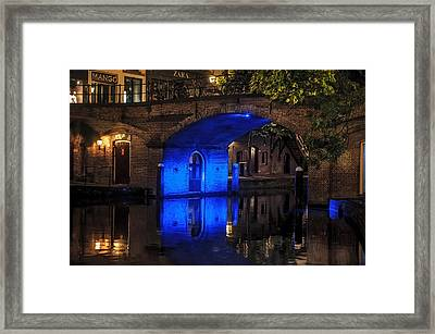 Trajectum Lumen Project. Blue Bridge . Netherlands Framed Print by Jenny Rainbow