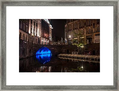 Trajectum Lumen Project. Blue Bridge 2. Netherlands Framed Print by Jenny Rainbow