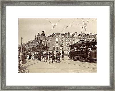 Tram 3 And Passers-by On The New Amstelbrug Given Direction Framed Print