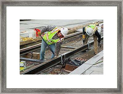 Tram Line Construction Framed Print