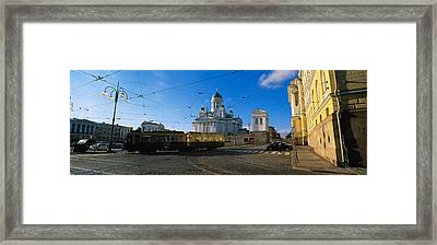 Tram Moving On A Road, Senate Square Framed Print
