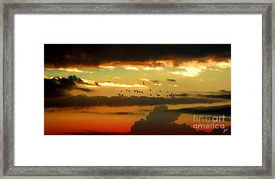Framed Print featuring the photograph Sunset 1 by Ze  Di