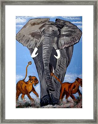 Framed Print featuring the painting Trampling Elephant by Nora Shepley