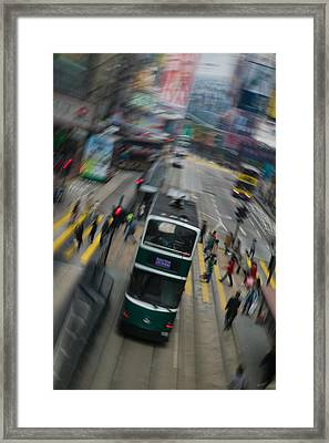 Trams On A Road, Hennessy Road, Wan Framed Print