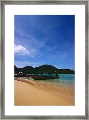 Tranquil Beach Framed Print by FireFlux Studios