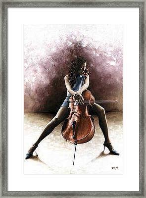 Tranquil Cellist Framed Print by Richard Young