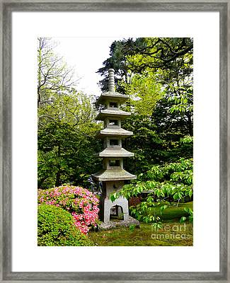 Tranquil Japanese Garden Framed Print by Avis  Noelle