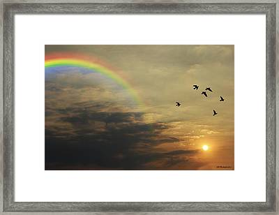Tranquil Sunset And Rainbow Framed Print by Jay Harrison