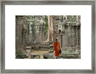 Tranquility In Angkor Wat Cambodia Framed Print by Bob Christopher