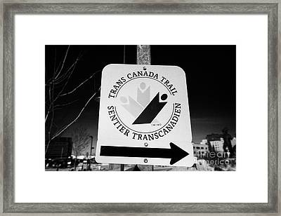 trans canada trail sign in downtown Saskatoon Saskatchewan Canada Framed Print by Joe Fox