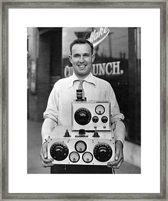 Trans Pacific Pilot And Radio Framed Print