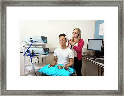 Transcranial Magnetic Stimulation Framed Print by John Cairns Photography/oxford University Images