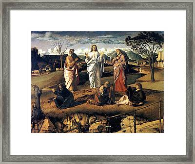 Framed Print featuring the painting Transfiguration Of Christ 1487 Giovanni Bellini by Karon Melillo DeVega