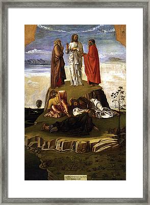 Framed Print featuring the painting Transfiguration Of Christ On Mount Tabor 1455 Giovanni Bellini by Karon Melillo DeVega