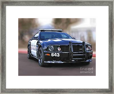 Transformers Barricade Graphic Drawing Framed Print by Accelerated Vision Photography