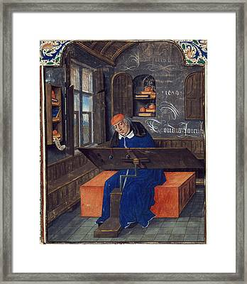 Translator At Work In His Study Framed Print