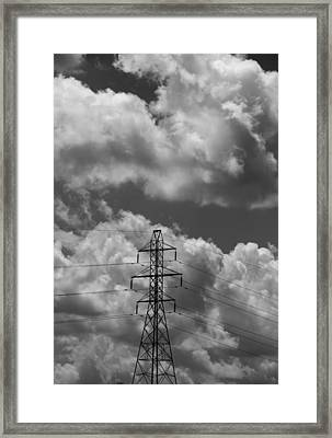 Transmission Tower In Storm Framed Print