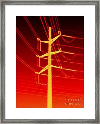 Transmission Tower Thermogram Framed Print