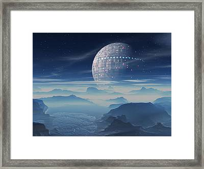 Tranus Alien Planet With Satellite Framed Print